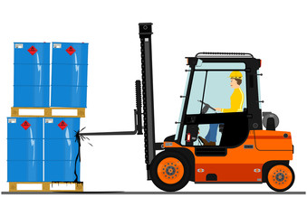 Forklift with a pallet of barrels.