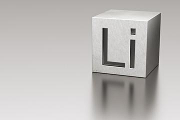 Lithium cube with Li mark