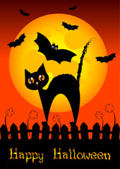 Holiday illustration on theme of Halloween. Trick or treat