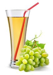 Fototapete - Glass of grape juice with fruit isolated on white.