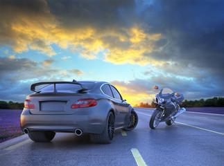 sport car and motorbike