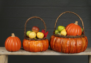 Pumpkins and Apples in Basket, Fall or Thanksgiving Theme