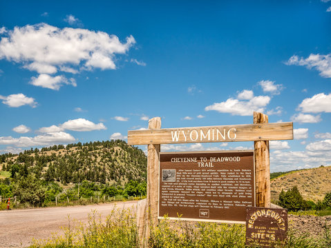 Visit Cheyenne Wyoming travel USA state border welcome sign