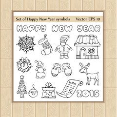 Vector set with cartoon icons of happy new year