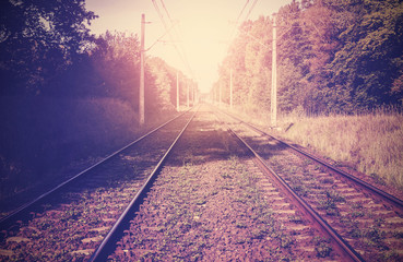Vintage filtered picture of railroad tracks.