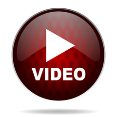 video red glossy web icon on white background.