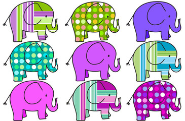 nine colorful elephants background