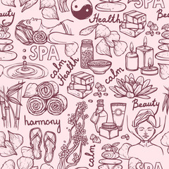 Printed roller blinds Doodle Spa sketch seamless pattern