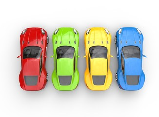 Papiers peints Cartoon voitures Top view on row of multicolored cars on white background