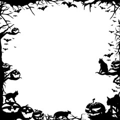 Halloween frame border isolated on white
