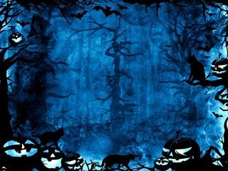 Halloween dark blue magic mystic background