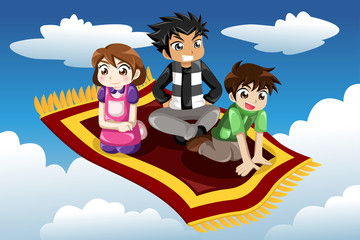 Kids riding on a flying carpet