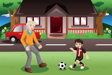 Grandpa and grandson playing soccer