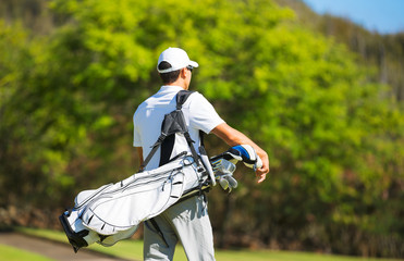 Golfer Walking with Bag