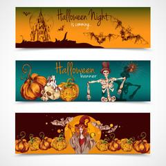 Halloween colored banners horizontal