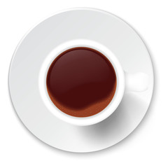 Coffee cup on a porcelain saucer isolated on a white background.