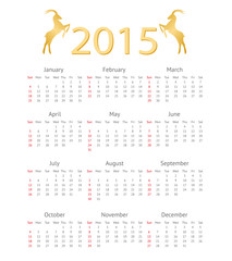 Calendar Template 2015 with Goat Icons