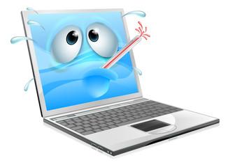 Unwell laptop computer virus cartoon