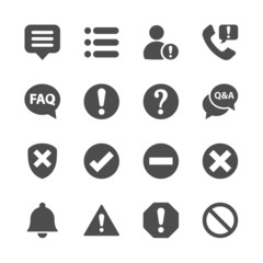 notification and information icon set, vector eps10