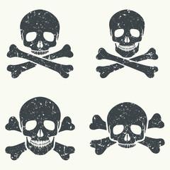 Grunge skulls icons.
