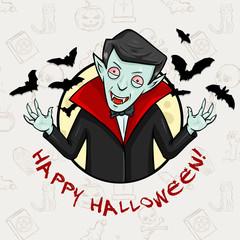 Vector Halloween Postcard. Vampire, Moon and Bats