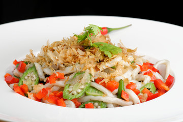 Thai spicy salad with rice noodles