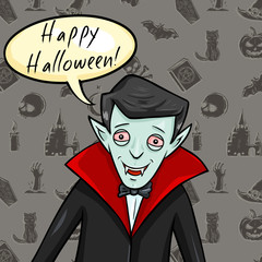 Vector Halloween Postcard. Vampire with Bubble