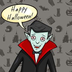 Vector Halloween Postcard. Vampire with Bubble