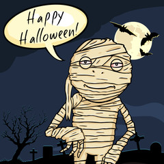 Vector Halloween Postcard. Smiling Mummy with Bubble