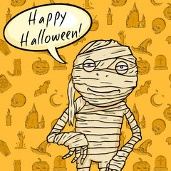 Vector Halloween Postcard. Mummy with Bubble - Happy Halloween