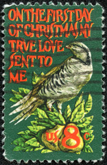 bird and the words On the First Day of Christmas