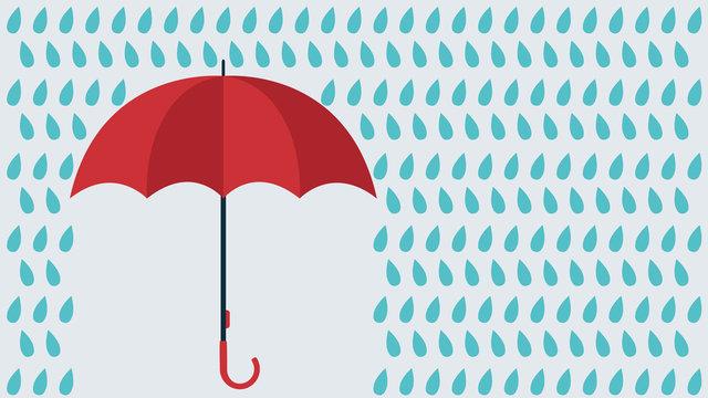 Vector umbrella under rain drops. Copyspace for text