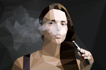 Fotoväggar - Woman smoking e cigarette vector geometric illustration