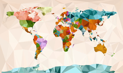 Wall Mural - World map, vector geometric design