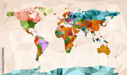 Wall mural World map, vector geometric design
