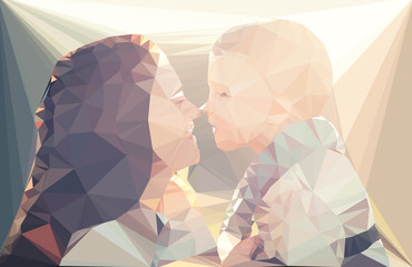 Fotoväggar - Mom and child portrait vector geometric illustration