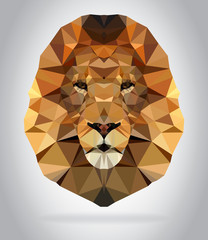 Wall Mural - Lion head vector isolated geometric illustration