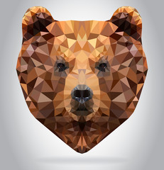 Wall Mural - Grizzly Bear head vector isolated geometric illustration