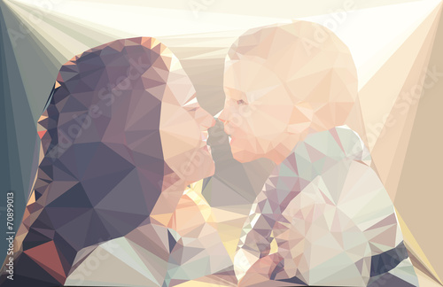 Wall mural Mom and child portrait vector geometric illustration