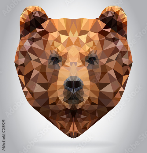 Wall mural Grizzly Bear head vector isolated geometric illustration