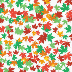 Frame fallen maple leaves. Autumn background. Vector.