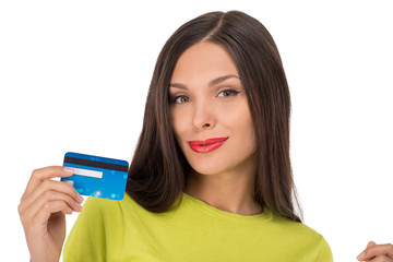 Smiling woman shopping with credit card