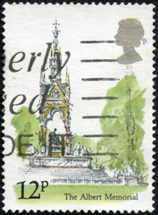 stamp printed in United Kingdom shows a Albert Memorial