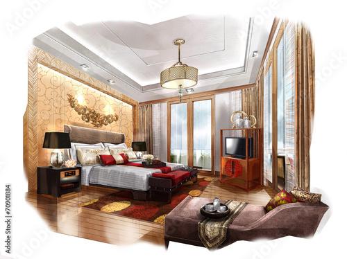 Quot Sketch Design Bedroom Interior Design Hotel Quot Stock Photo