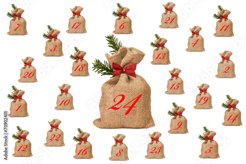 adventskalender aus jutes ckchen stockfotos und. Black Bedroom Furniture Sets. Home Design Ideas