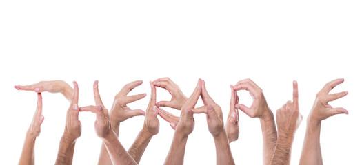 Viele Hände formen das Wort Therapie