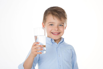 smiling boy with water