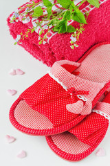 female slippers with hearts,
