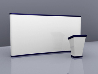 blank trade show booth for designers. 3d render