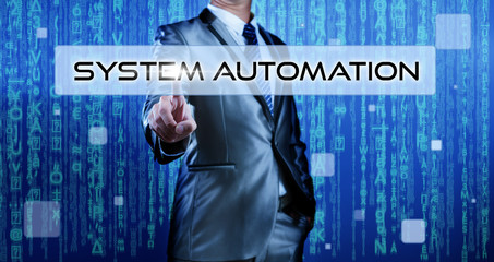 Businessman pressing on button system automation